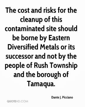 Dante J. Picciano - The cost and risks for the cleanup of this contaminated site should be borne by Eastern Diversified Metals or its successor and not by the people of Rush Township and the borough of Tamaqua.