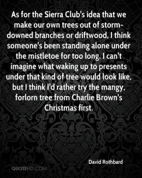 David Rothbard - As for the Sierra Club's idea that we make our own trees out of storm-downed branches or driftwood, I think someone's been standing alone under the mistletoe for too long. I can't imagine what waking up to presents under that kind of tree would look like, but I think I'd rather try the mangy, forlorn tree from Charlie Brown's Christmas first.