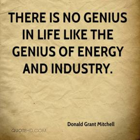 Donald Grant Mitchell - There is no genius in life like the genius of energy and industry.