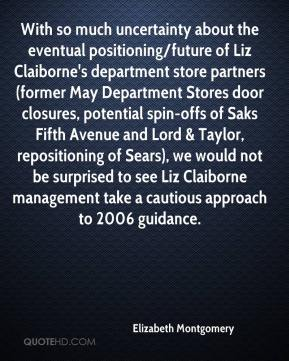Elizabeth Montgomery - With so much uncertainty about the eventual positioning/future of Liz Claiborne's department store partners (former May Department Stores door closures, potential spin-offs of Saks Fifth Avenue and Lord & Taylor, repositioning of Sears), we would not be surprised to see Liz Claiborne management take a cautious approach to 2006 guidance.