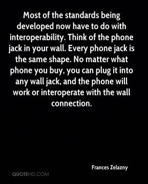 Frances Zelazny - Most of the standards being developed now have to do with interoperability. Think of the phone jack in your wall. Every phone jack is the same shape. No matter what phone you buy, you can plug it into any wall jack, and the phone will work or interoperate with the wall connection.