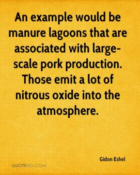 Gidon Eshel - An example would be manure lagoons that are associated with large-scale pork production. Those emit a lot of nitrous oxide into the atmosphere.
