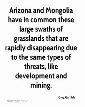 Greg Gamble - Arizona and Mongolia have in common these large swaths of grasslands that are rapidly disappearing due to the same types of threats, like development and mining.
