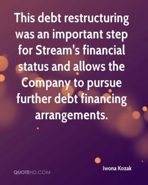 Iwona Kozak - This debt restructuring was an important step for Stream's financial status and allows the Company to pursue further debt financing arrangements.