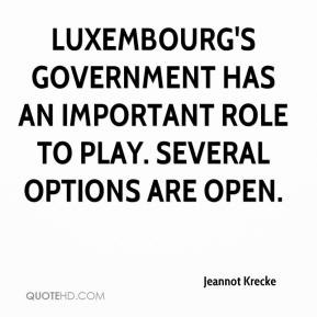 Jeannot Krecke  - Luxembourg's government has an important role to play. Several options are open.