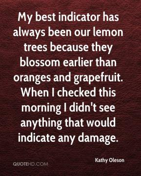 Kathy Oleson  - My best indicator has always been our lemon trees because they blossom earlier than oranges and grapefruit. When I checked this morning I didn't see anything that would indicate any damage.