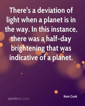Kem Cook  - There's a deviation of light when a planet is in the way. In this instance, there was a half-day brightening that was indicative of a planet.