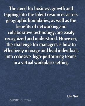 The need for business growth and tapping into the talent resources across geographic boundaries, as well as the benefits of networking and collaborative technology, are easily recognized and understood. However, the challenge for managers is how to effectively manage and lead individuals into cohesive, high-performing teams in a virtual workplace setting.