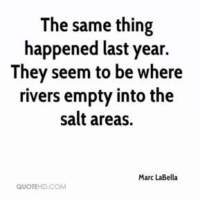 Marc LaBella  - The same thing happened last year. They seem to be where rivers empty into the salt areas.