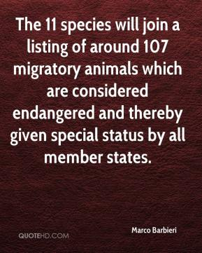 Marco Barbieri  - The 11 species will join a listing of around 107 migratory animals which are considered endangered and thereby given special status by all member states.