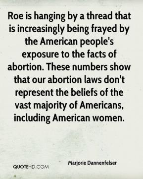 Marjorie Dannenfelser  - Roe is hanging by a thread that is increasingly being frayed by the American people's exposure to the facts of abortion. These numbers show that our abortion laws don't represent the beliefs of the vast majority of Americans, including American women.