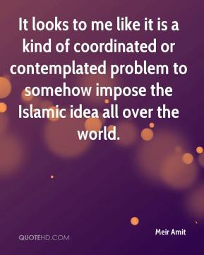 Meir Amit  - It looks to me like it is a kind of coordinated or contemplated problem to somehow impose the Islamic idea all over the world.