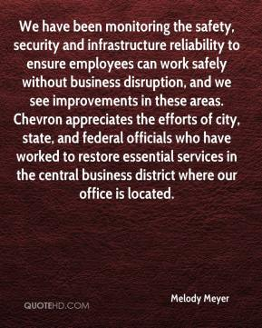 Melody Meyer  - We have been monitoring the safety, security and infrastructure reliability to ensure employees can work safely without business disruption, and we see improvements in these areas. Chevron appreciates the efforts of city, state, and federal officials who have worked to restore essential services in the central business district where our office is located.