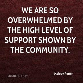 Melody Potter  - We are so overwhelmed by the high level of support shown by the community.