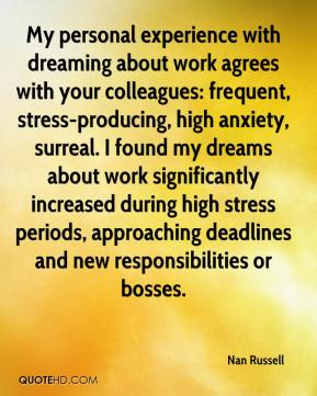 Nan Russell  - My personal experience with dreaming about work agrees with your colleagues: frequent, stress-producing, high anxiety, surreal. I found my dreams about work significantly increased during high stress periods, approaching deadlines and new responsibilities or bosses.