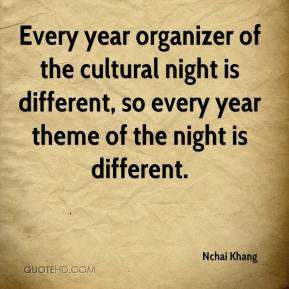 Nchai Khang  - Every year organizer of the cultural night is different, so every year theme of the night is different.