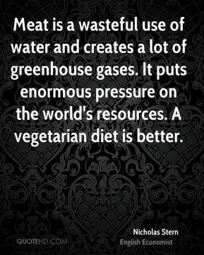 Meat is a wasteful use of water and creates a lot of greenhouse gases. It puts enormous pressure on the world's resources. A vegetarian diet is better.