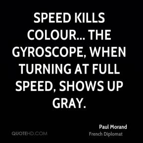 Speed kills colour... the gyroscope, when turning at full speed, shows up gray.