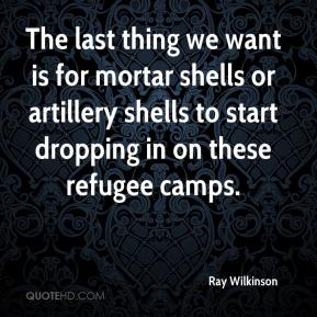 Ray Wilkinson  - The last thing we want is for mortar shells or artillery shells to start dropping in on these refugee camps.