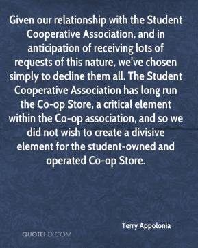Terry Appolonia  - Given our relationship with the Student Cooperative Association, and in anticipation of receiving lots of requests of this nature, we've chosen simply to decline them all. The Student Cooperative Association has long run the Co-op Store, a critical element within the Co-op association, and so we did not wish to create a divisive element for the student-owned and operated Co-op Store.