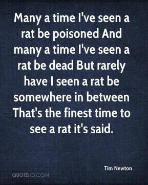 Tim Newton  - Many a time I've seen a rat be poisoned And many a time I've seen a rat be dead But rarely have I seen a rat be somewhere in between That's the finest time to see a rat it's said.
