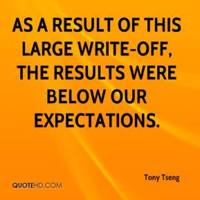 Tony Tseng  - As a result of this large write-off, the results were below our expectations.