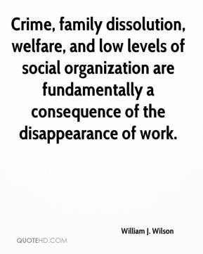 William J. Wilson - Crime, family dissolution, welfare, and low levels of social organization are fundamentally a consequence of the disappearance of work.