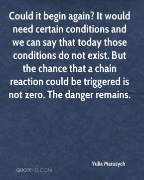Yulia Marusych  - Could it begin again? It would need certain conditions and we can say that today those conditions do not exist. But the chance that a chain reaction could be triggered is not zero. The danger remains.