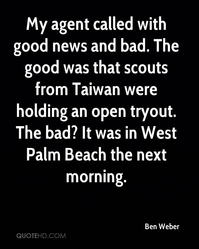My agent called with good news and bad. The good was that scouts from Taiwan were holding an open tryout. The bad? It was in West Palm Beach the next morning.