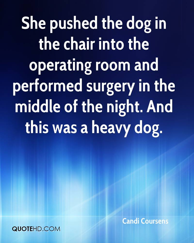 She pushed the dog in the chair into the operating room and performed surgery in the middle of the night. And this was a heavy dog.