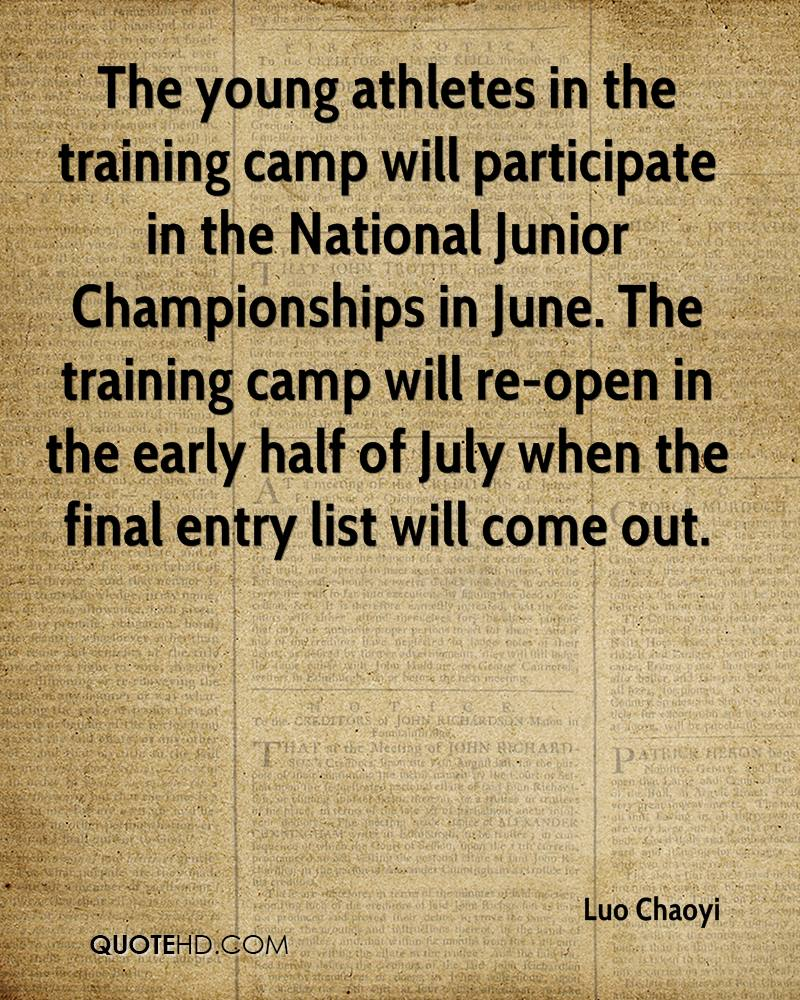 The young athletes in the training camp will participate in the National Junior Championships in June. The training camp will re-open in the early half of July when the final entry list will come out.