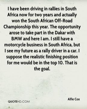 Alfie Cox - I have been driving in rallies in South Africa now for two years and actually won the South African Off-Road Championship this year. The opportunity arose to take part in the Dakar with BMW and here I am. I still have a motorcycle business in South Africa, but I see my future as a rally driver in a car. I suppose the realistic finishing position for me would be in the top 10. That is the goal.