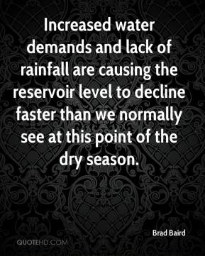 Increased water demands and lack of rainfall are causing the reservoir level to decline faster than we normally see at this point of the dry season.