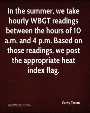 Cathy Tatum - In the summer, we take hourly WBGT readings between the hours of 10 a.m. and 4 p.m. Based on those readings, we post the appropriate heat index flag.