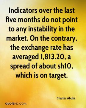 Charles Abuka - Indicators over the last five months do not point to any instability in the market. On the contrary, the exchange rate has averaged 1,813.20, a spread of about sh10, which is on target.