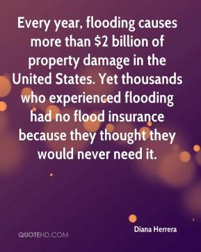 Diana Herrera - Every year, flooding causes more than $2 billion of property damage in the United States. Yet thousands who experienced flooding had no flood insurance because they thought they would never need it.