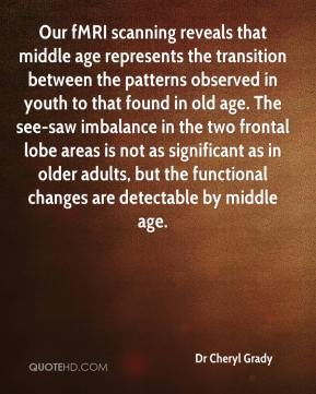 Dr Cheryl Grady - Our fMRI scanning reveals that middle age represents the transition between the patterns observed in youth to that found in old age. The see-saw imbalance in the two frontal lobe areas is not as significant as in older adults, but the functional changes are detectable by middle age.
