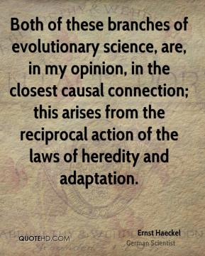 Ernst Haeckel - Both of these branches of evolutionary science, are, in my opinion, in the closest causal connection; this arises from the reciprocal action of the laws of heredity and adaptation.