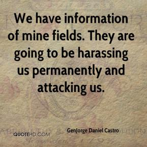 GenJorge Daniel Castro - We have information of mine fields. They are going to be harassing us permanently and attacking us.