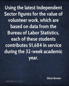 Glenn Bowen - Using the latest Independent Sector figures for the value of volunteer work, which are based on data from the Bureau of Labor Statistics, each of these students contributes $1,684 in service during the 32-week academic year.