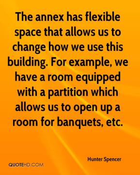 Hunter Spencer - The annex has flexible space that allows us to change how we use this building. For example, we have a room equipped with a partition which allows us to open up a room for banquets, etc.