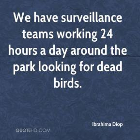 Ibrahima Diop - We have surveillance teams working 24 hours a day around the park looking for dead birds.