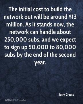 Jerry Grasso  - The initial cost to build the network out will be around $13 million. As it stands now, the network can handle about 250,000 subs, and we expect to sign up 50,000 to 80,000 subs by the end of the second year.