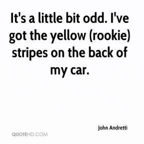 John Andretti  - It's a little bit odd. I've got the yellow (rookie) stripes on the back of my car.