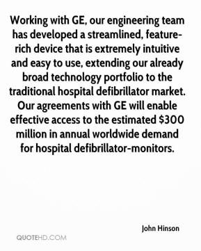 John Hinson  - Working with GE, our engineering team has developed a streamlined, feature-rich device that is extremely intuitive and easy to use, extending our already broad technology portfolio to the traditional hospital defibrillator market. Our agreements with GE will enable effective access to the estimated $300 million in annual worldwide demand for hospital defibrillator-monitors.