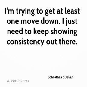 Johnathan Sullivan  - I'm trying to get at least one move down. I just need to keep showing consistency out there.