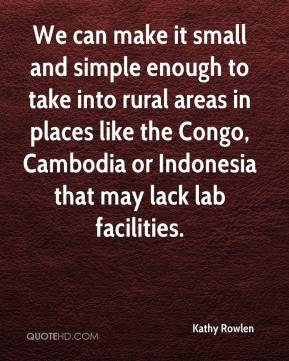 Kathy Rowlen  - We can make it small and simple enough to take into rural areas in places like the Congo, Cambodia or Indonesia that may lack lab facilities.