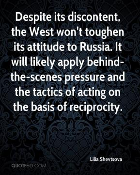 Lilia Shevtsova  - Despite its discontent, the West won't toughen its attitude to Russia. It will likely apply behind-the-scenes pressure and the tactics of acting on the basis of reciprocity.