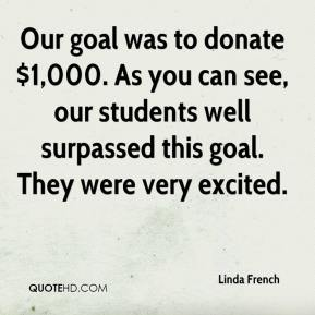 Linda French  - Our goal was to donate $1,000. As you can see, our students well surpassed this goal. They were very excited.