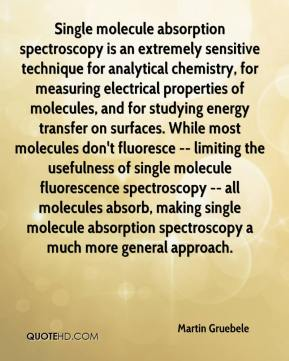 Martin Gruebele  - Single molecule absorption spectroscopy is an extremely sensitive technique for analytical chemistry, for measuring electrical properties of molecules, and for studying energy transfer on surfaces. While most molecules don't fluoresce -- limiting the usefulness of single molecule fluorescence spectroscopy -- all molecules absorb, making single molecule absorption spectroscopy a much more general approach.